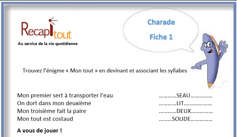 Souvent Jeux de mémoire à imprimer : charade, Mémoire, Au service de la  VT34