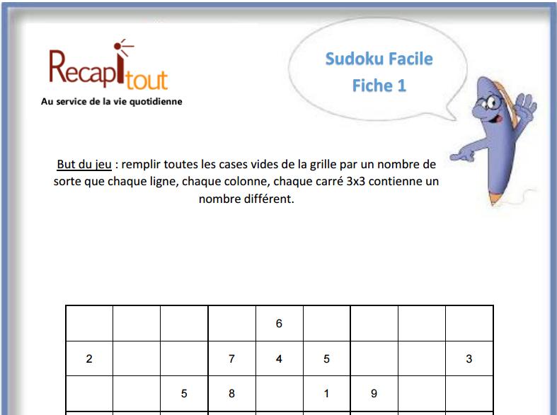 Fabuleux Jeux de mémoire à imprimer : sudoku, Mémoire, Au service de la vie  YB31