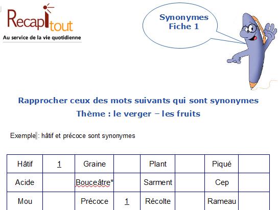 Jeux De Memoire A Imprimer Trouver Les Synonymes Memoire Au Service De La Vie Quotidienne