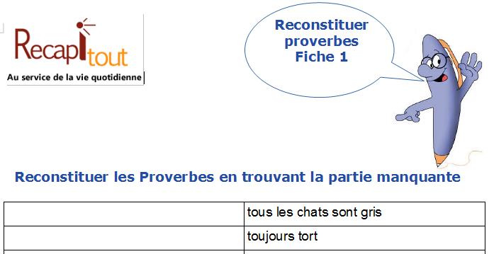 Jeux De Memoire A Imprimer Reconstituer Mots Expressions Proverbes Memoire Au Service De La Vie Quotidienne